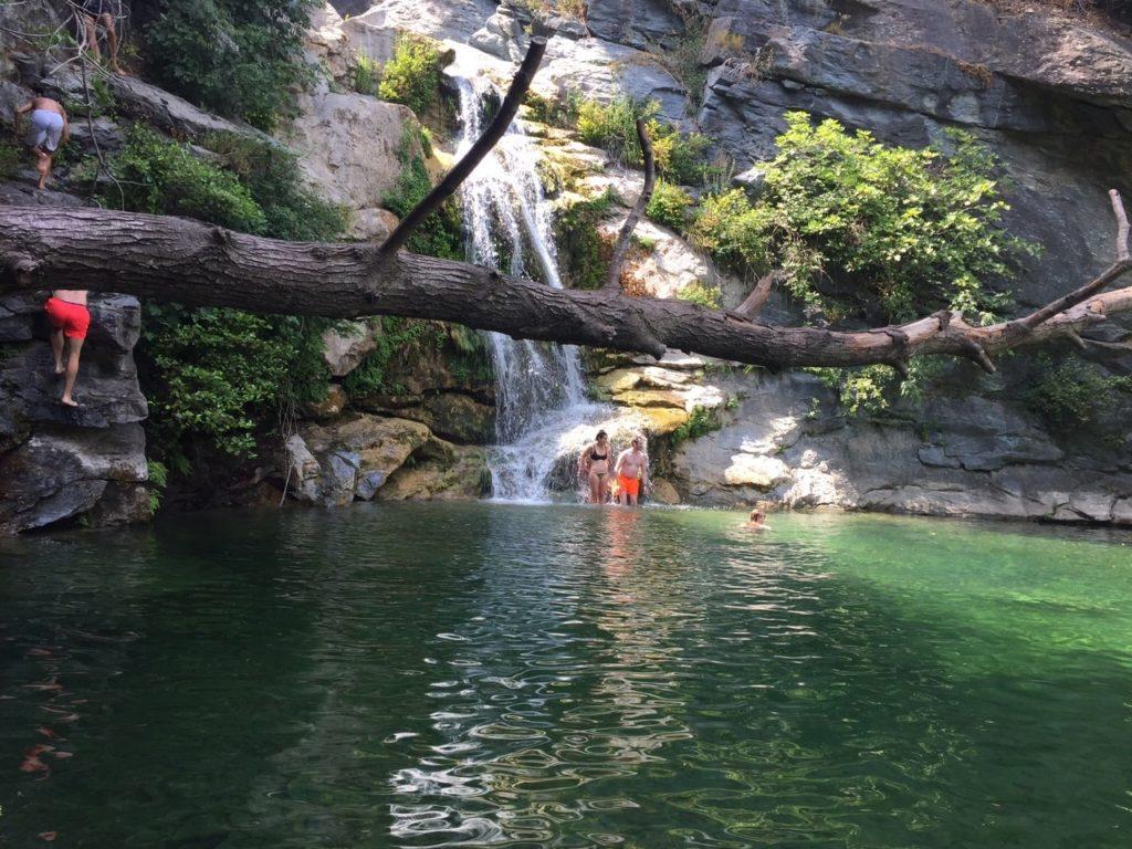 The waterfall near Mark Warner's San Lucianu Resort in Corsica