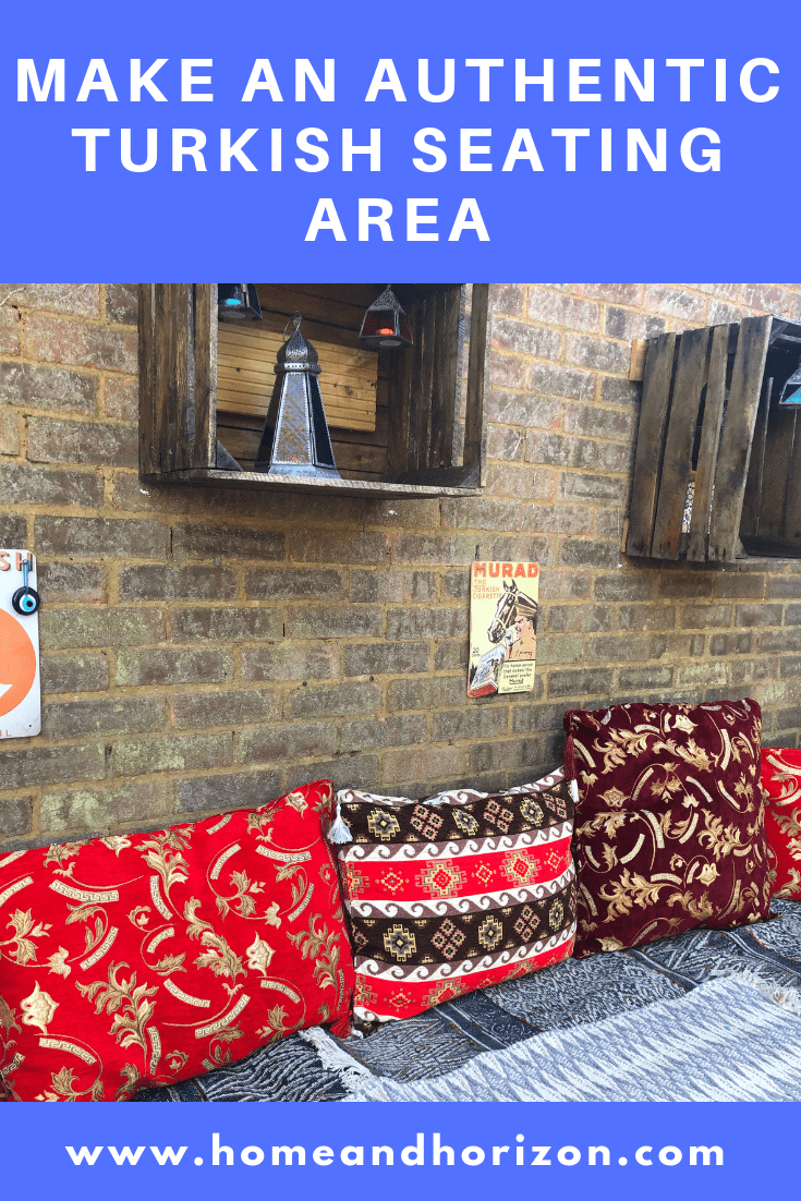 Here's how to make an authentic looking Turkish seating area using pallets for an affordable price